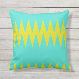 Turquoise and Yellow Outdoor Throw Pillow