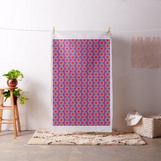 Turquoise and Yellow Sunburst on Pink Fabric