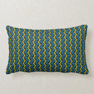 Turquoise and Yellow Tribal Chevron Pattern Lumbar Cushion