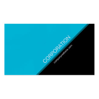 Turquoise angled text modern business card