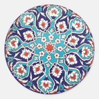 Turquoise Antique Floral Mosaic Tile Classic Round Sticker