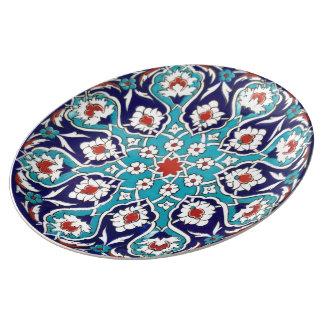 Turquoise Antique Floral Mosaic Tile Plate