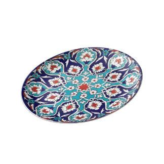 Turquoise Antique Floral Mosaic Tile Porcelain Plate