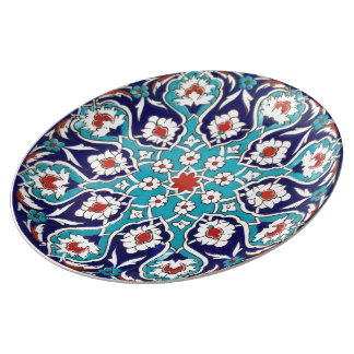 Turquoise Antique Floral Mosaic Tile Porcelain Plates
