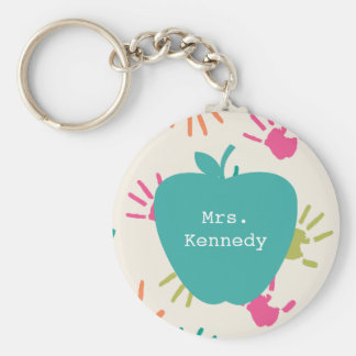 Turquoise Apple Colorful Handprints Teacher Basic Round Button Key Ring