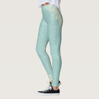 Turquoise Aqua and Floral Lace Leggings