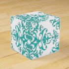Turquoise Aqua and White Fancy Floral Damask Favour Box