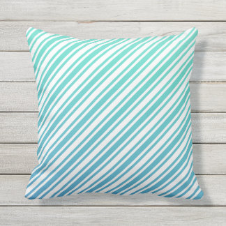 Turquoise Aqua Blue Gradient Ombre Modern Striped Outdoor Cushion