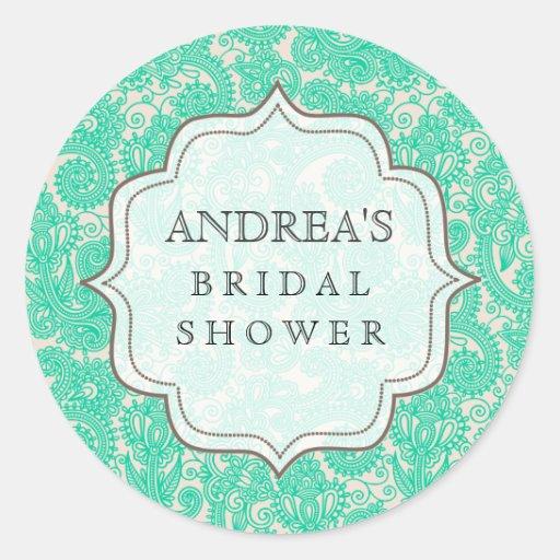 Turquoise Aqua Bridal Shower Dessert Tag Label Round Sticker