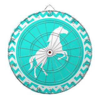 Turquoise, Aqua Color Chevron; Equestrian Dartboard With Darts