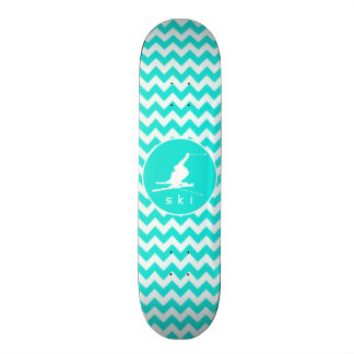 Turquoise, Aqua Color Chevron; Snow Ski 21.3 Cm Mini Skateboard Deck