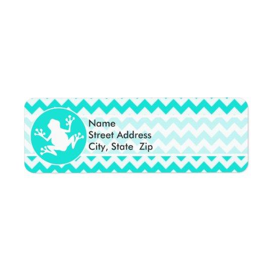 Turquoise, Aqua Colour Chevron; Frog Return Address Label