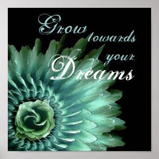 TURQUOISE & AQUA DREAMS Sunburst Feathered Rose Poster