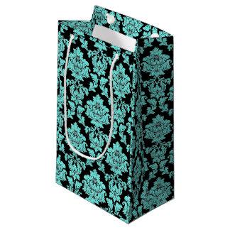 Turquoise aqua glitter black vintage floral damask small gift bag