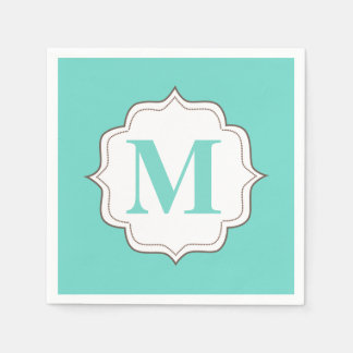 Turquoise Aqua Personalized Monogram Napkins Disposable Serviette