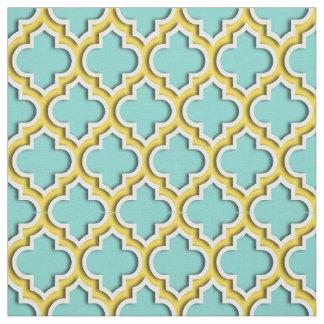Turquoise Aqua, Pineapple Moroccan Quatrefoil #5DS Fabric