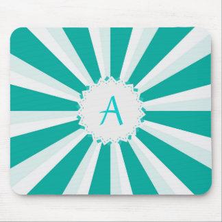 Turquoise Aqua Teal Sunburst with Monogram Mouse Pad