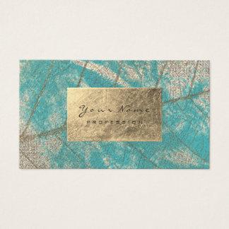 Turquoise Aqua Tiffany Sepia Golden Foil Aquarelle Business Card