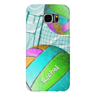 Turquoise Aqua Volleyball Girls Name Samsung Galaxy S6 Cases