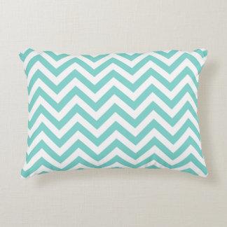 Turquoise Aqua White Large Chevron ZigZag Pattern Accent Cushion
