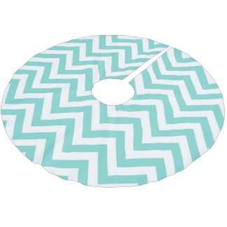 Turquoise Aqua White Large Chevron ZigZag Pattern Brushed Polyester Tree Skirt