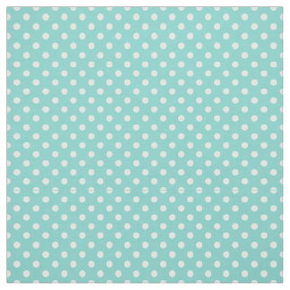 Turquoise Aqua, White Polka Dots Size 1 Small Fabric