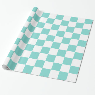 Turquoise Aqua White XL Checker Board Pattern Wrapping Paper