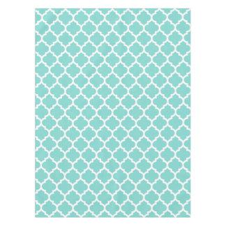 Turquoise Aqua Wht Moroccan Quatrefoil Pattern #5 Tablecloth