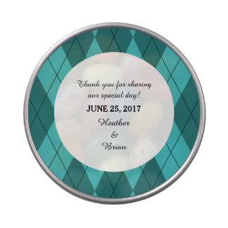 Turquoise Argyle Wedding Candy Tin