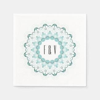 Turquoise Art Deco Design Paper Napkin