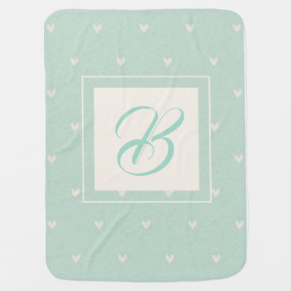 Turquoise baby initial heart pattern baby blanket