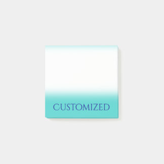 Turquoise Background w/ Dark Blue Elegant Name Post-it Notes