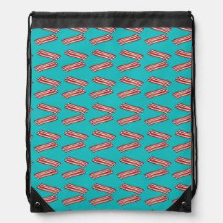 Turquoise bacon pattern drawstring bag