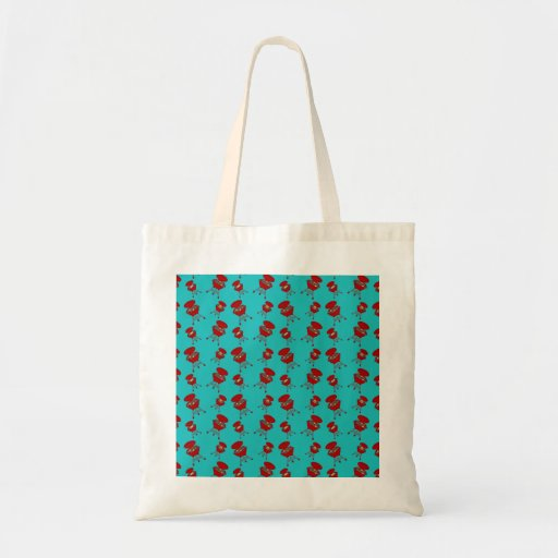 turquoise barbeque pattern canvas bags