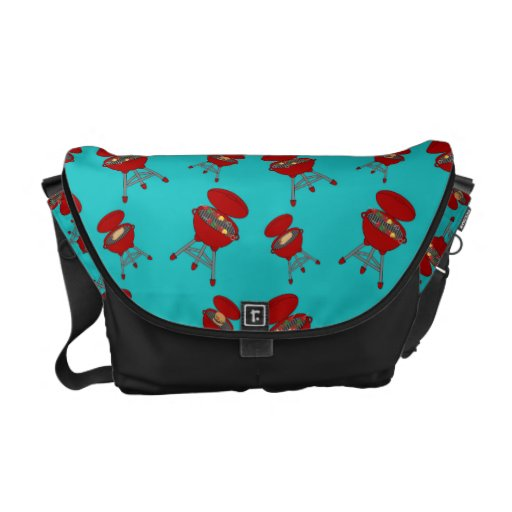 turquoise barbeque pattern courier bag