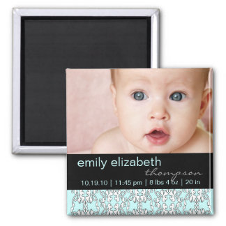 Turquoise Baroque Baby Photo Magnet