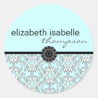 Turquoise Baroque Name Sticker