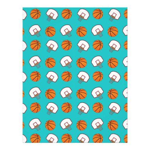 Turquoise basketballs and nets pattern flyer