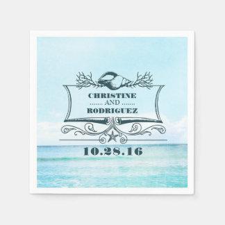 Turquoise Beach Wedding Disposable Napkin