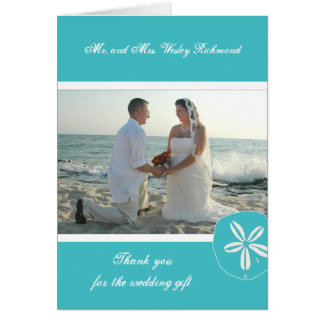 Turquoise Beach Wedding Photo Thank You Note Card