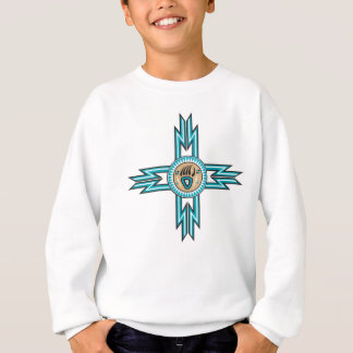 Turquoise Bear Paw Native American Kids Sweatshirt