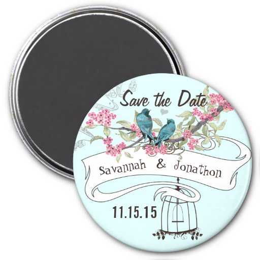 Turquoise Birds Pink Cherry Blossom Save the Date Refrigerator Magnet