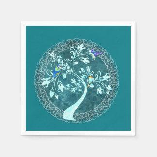 Turquoise Birds & Tree Party Napkins Disposable Serviettes