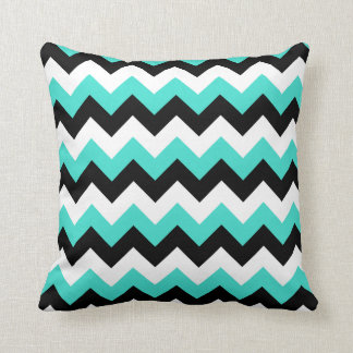 Turquoise Black and White Chevron Cushion