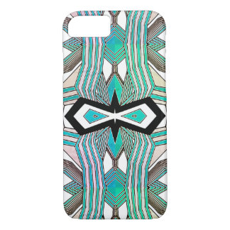 Turquoise, Black and White Geometrical Line Art iPhone 8/7 Case