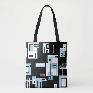 Turquoise Black Blocks Funky Tote Bag
