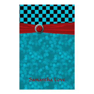 Turquoise Black Checks & Red Note Stationery Design