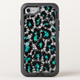 Turquoise Black Cheetah Abstract OtterBox Defender iPhone 8/7 Case
