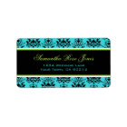 Turquoise & Black Damask Green Accent Address Label