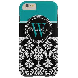 Turquoise, Black Damask Pattern Initial Name Tough iPhone 6 Plus Case